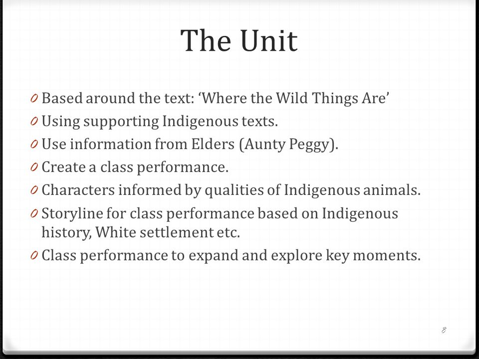 The Unit Based around the text: 'Where the Wild Things Are'
