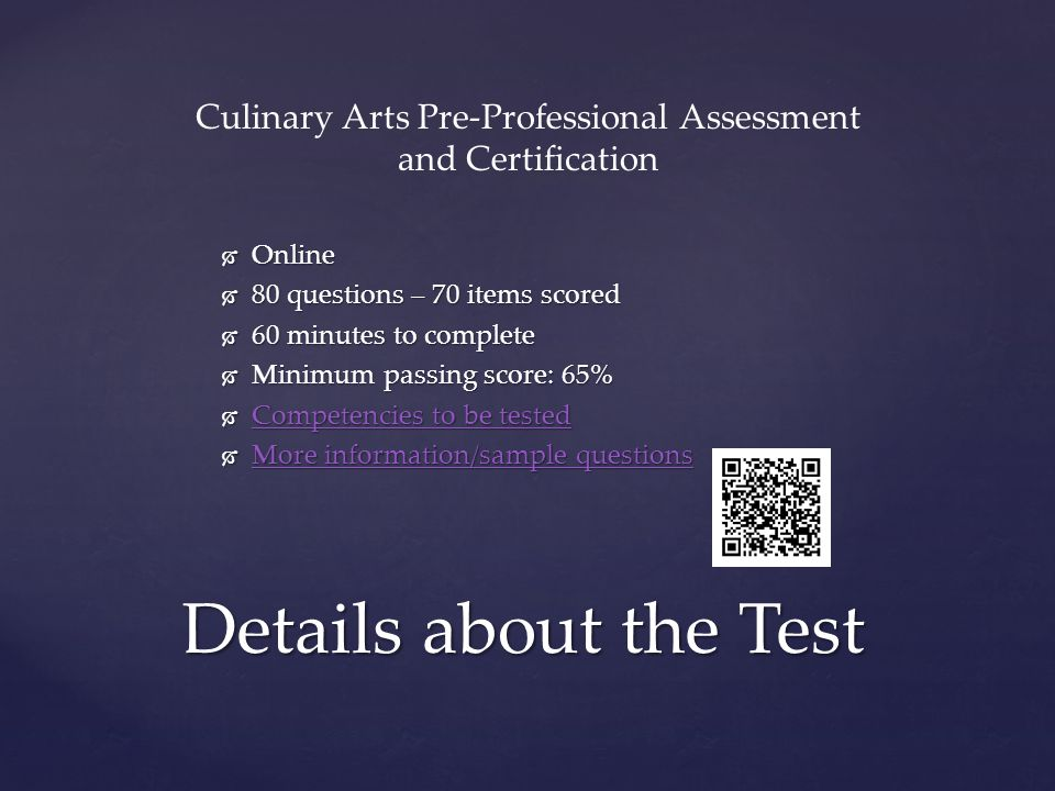 Culinary Arts Pre-Professional Assessment and Certification