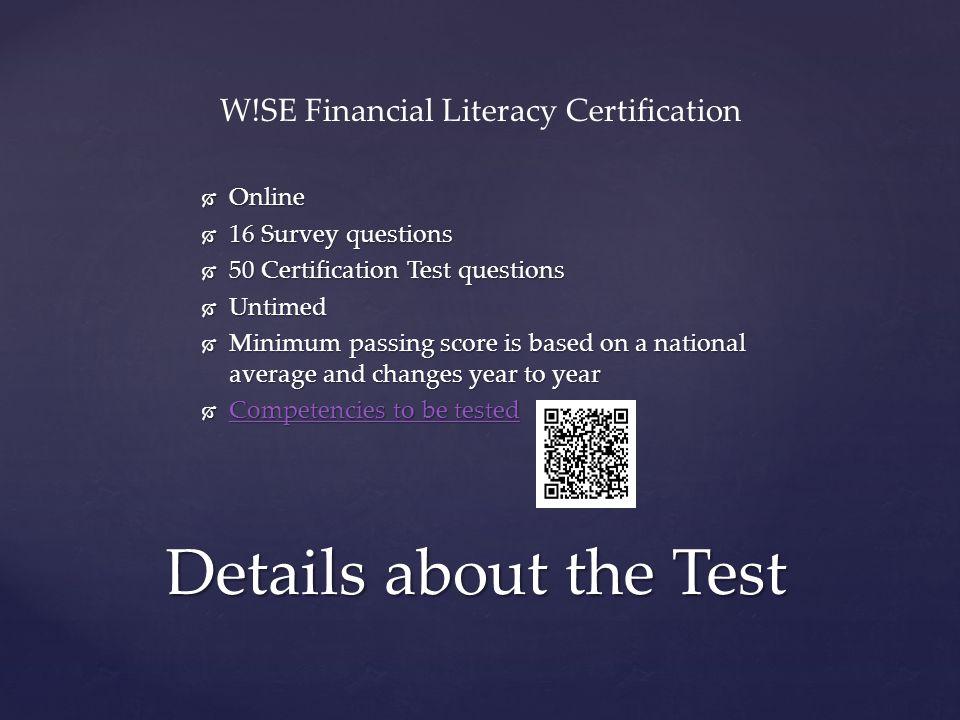 W!SE Financial Literacy Certification