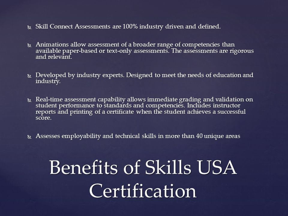 Benefits of Skills USA Certification