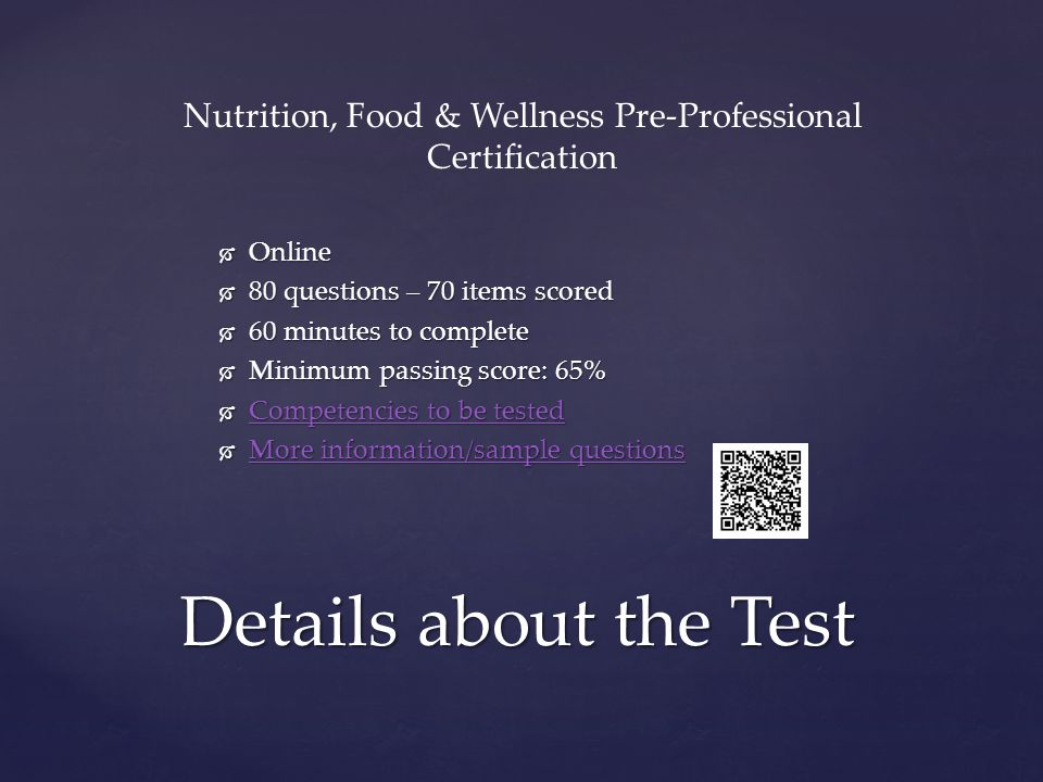 Nutrition, Food & Wellness Pre-Professional Certification