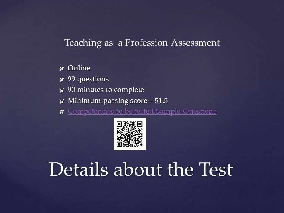 Teaching as a Profession Assessment