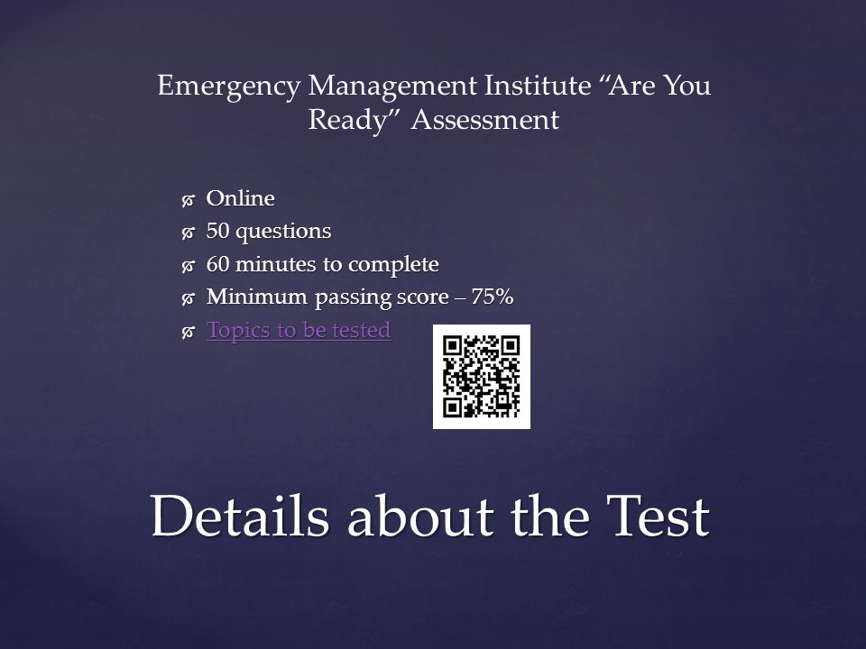 Emergency Management Institute Are You Ready Assessment