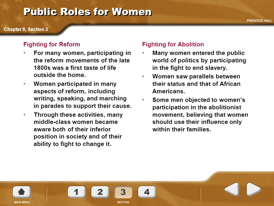 Public Roles for Women Fighting for Reform