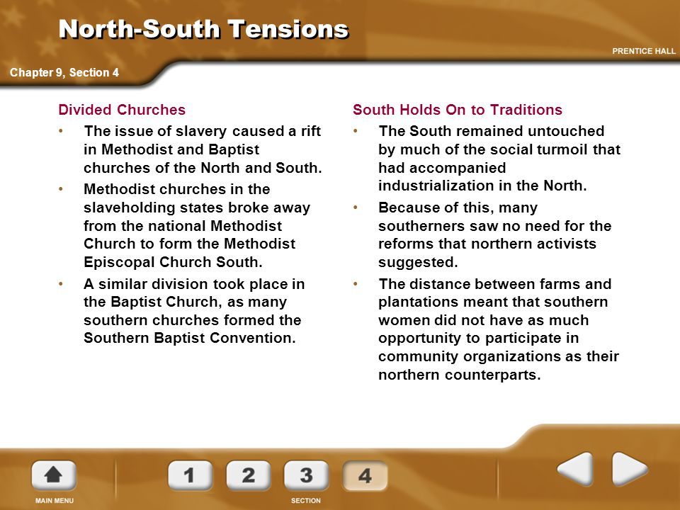 North-South Tensions Divided Churches