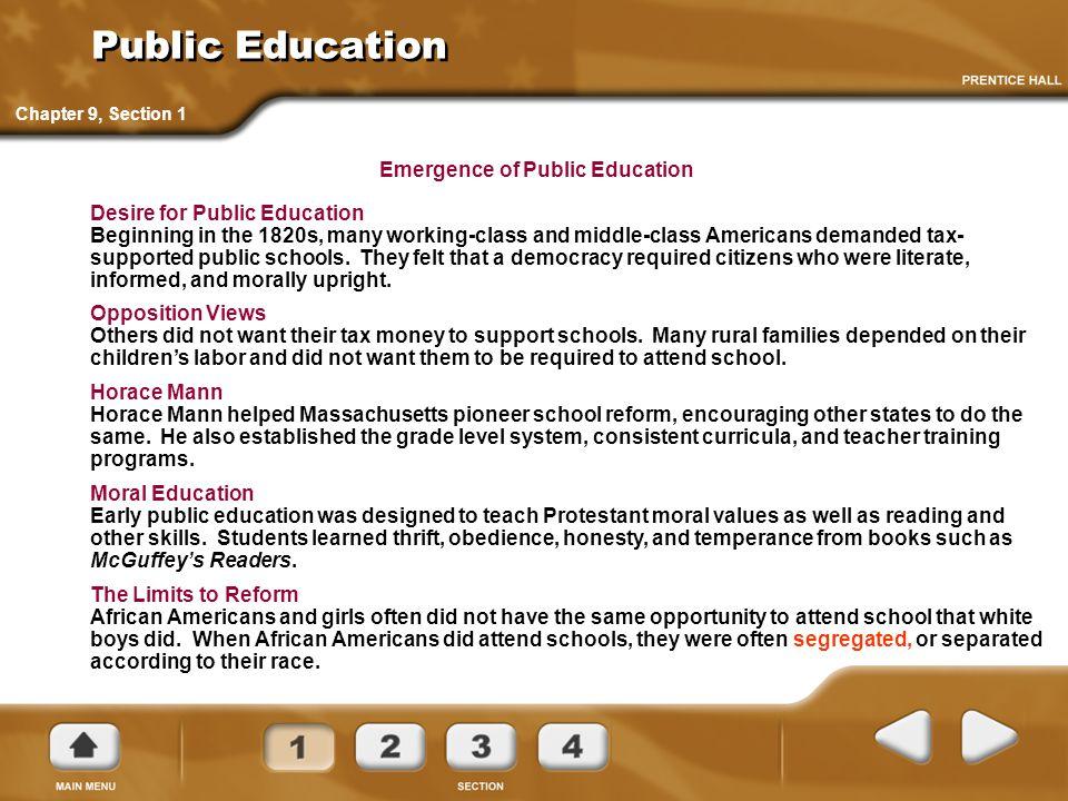 Emergence of Public Education