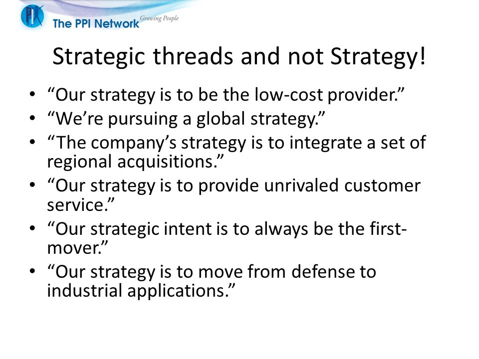 Strategic threads and not Strategy!