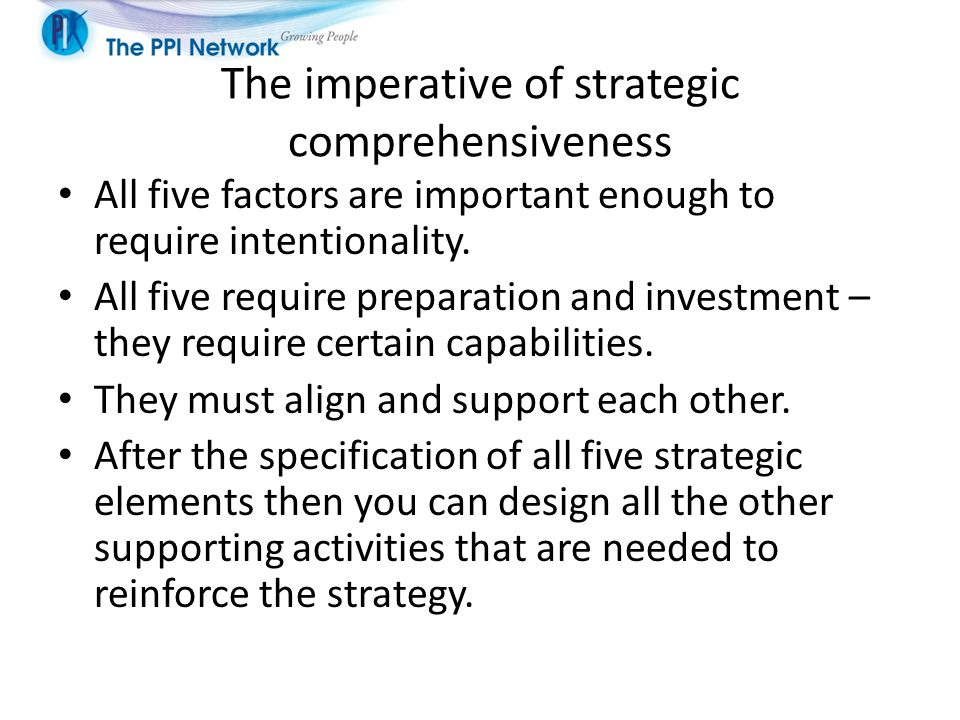 The imperative of strategic comprehensiveness
