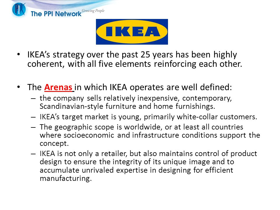 The Arenas in which IKEA operates are well defined: