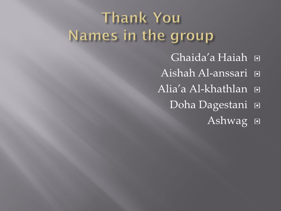 Thank You Names in the group