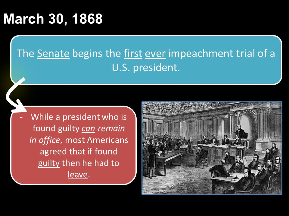 March 30, 1868 The Senate begins the first ever impeachment trial of a U.S. president.