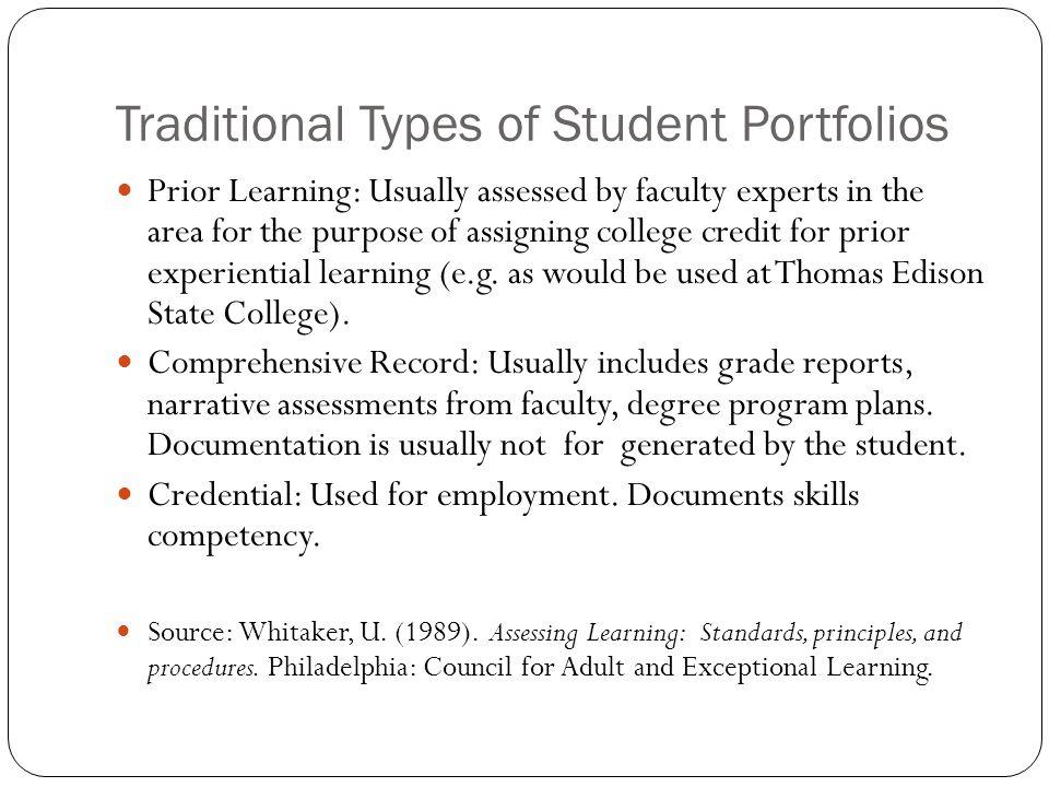 Traditional Types of Student Portfolios
