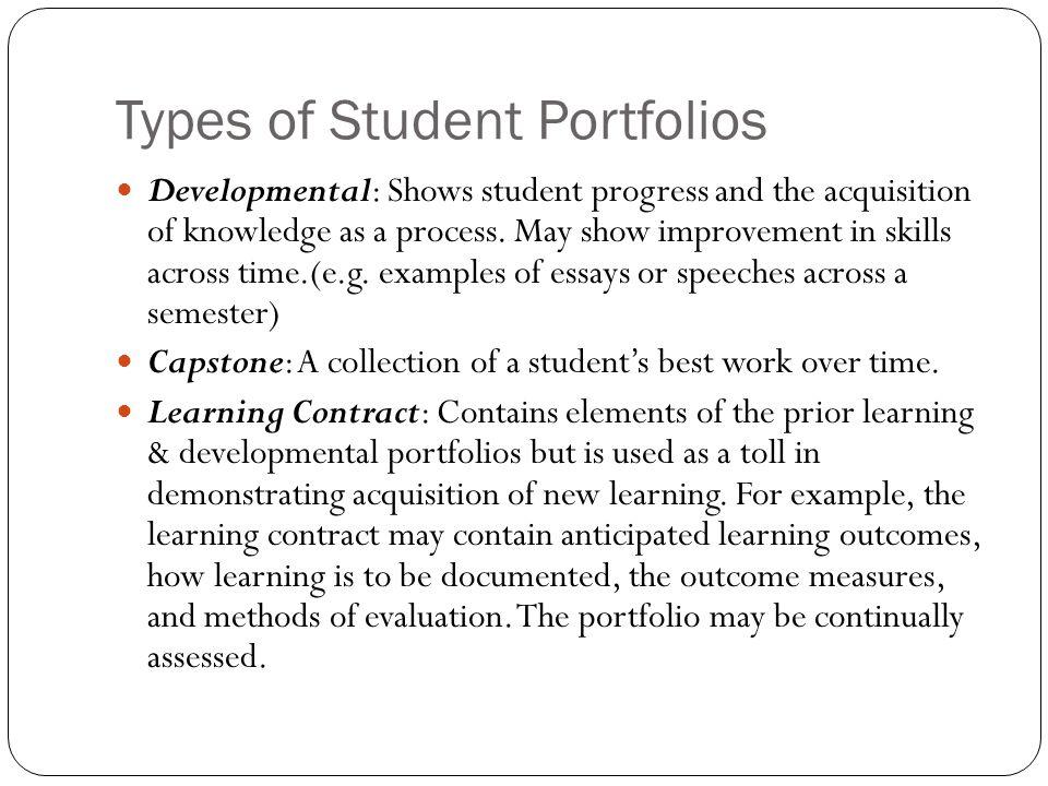 Types of Student Portfolios