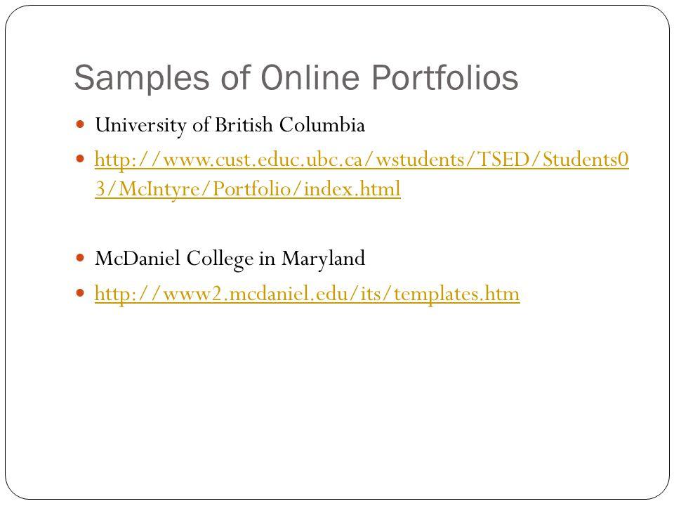 Samples of Online Portfolios