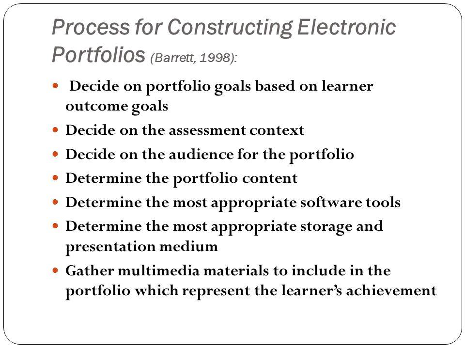 Process for Constructing Electronic Portfolios (Barrett, 1998):
