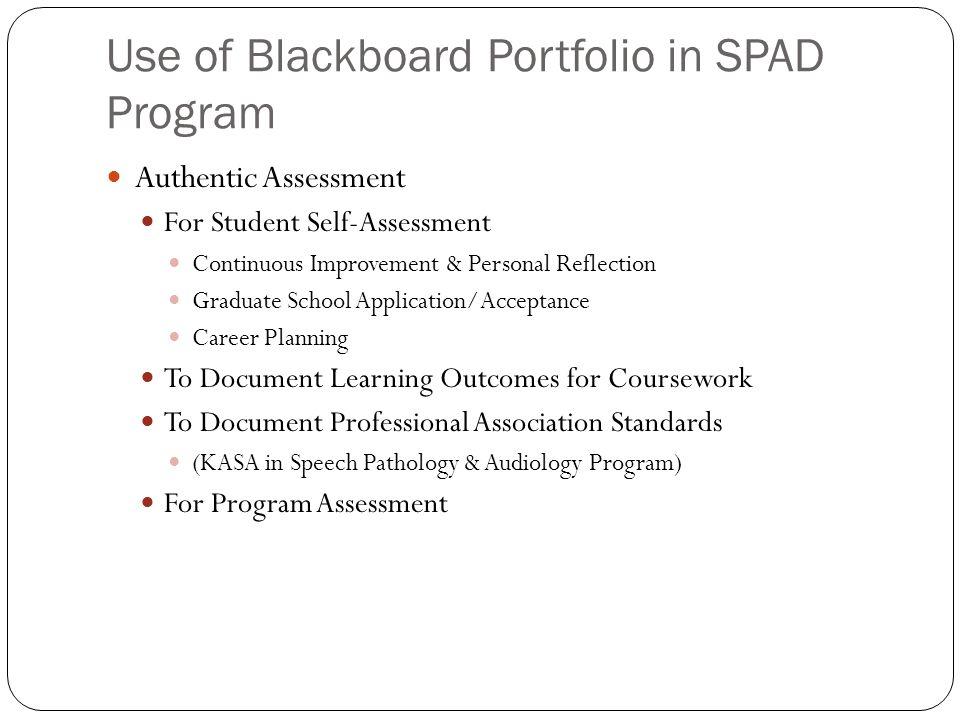 Use of Blackboard Portfolio in SPAD Program