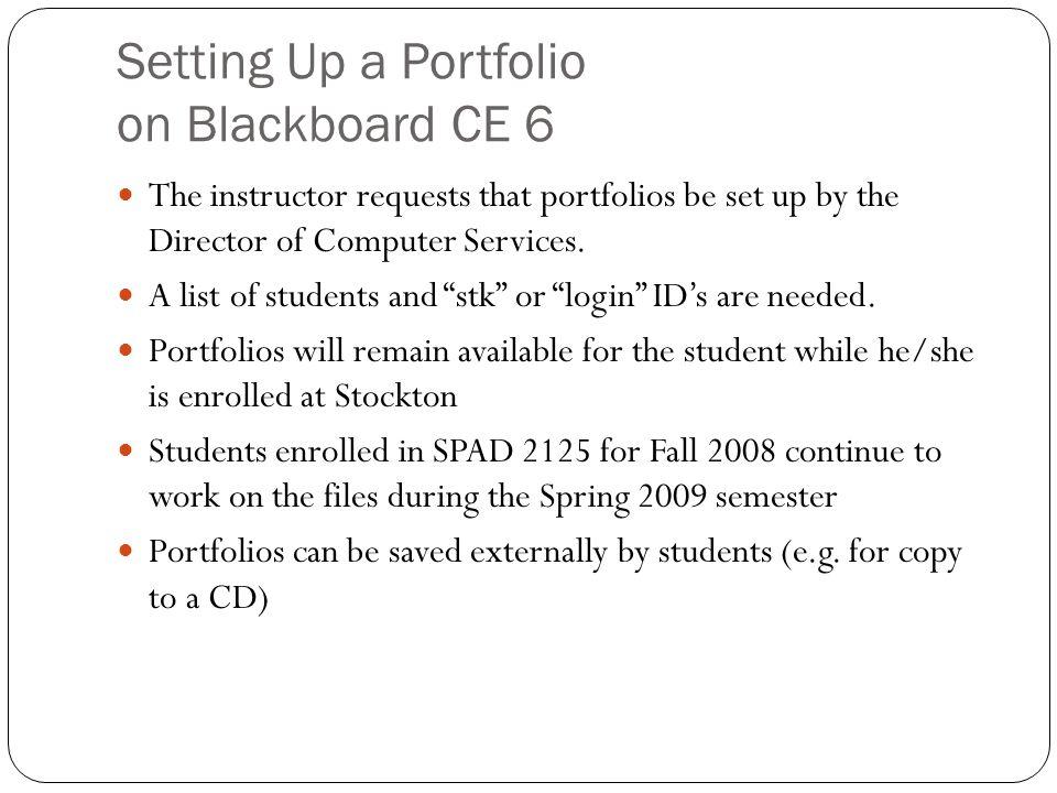 Setting Up a Portfolio on Blackboard CE 6