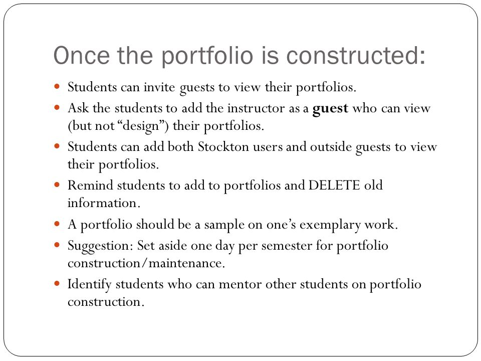 Once the portfolio is constructed: