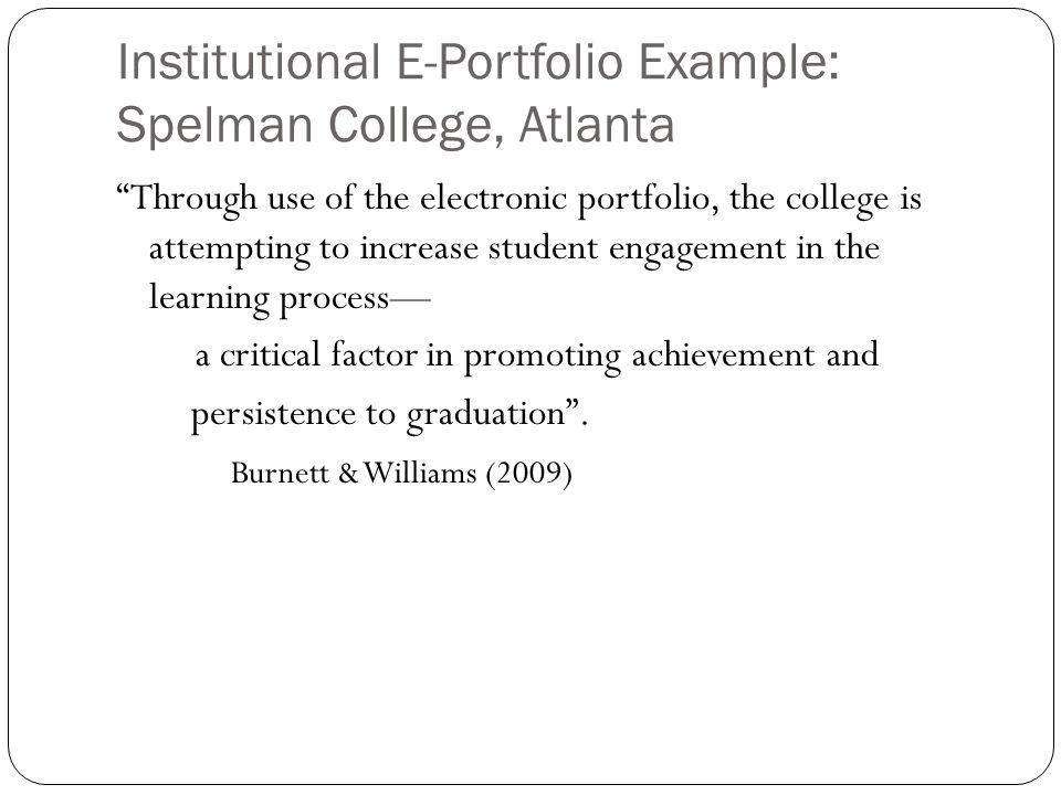 Institutional E-Portfolio Example: Spelman College, Atlanta