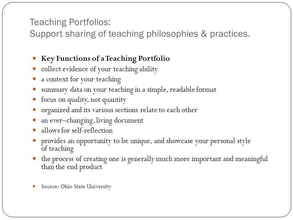 Key Functions of a Teaching Portfolio