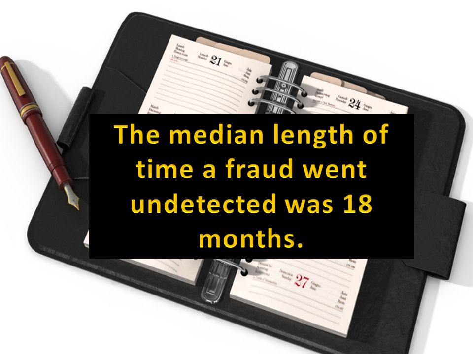 The median length of time a fraud went undetected was 18 months.