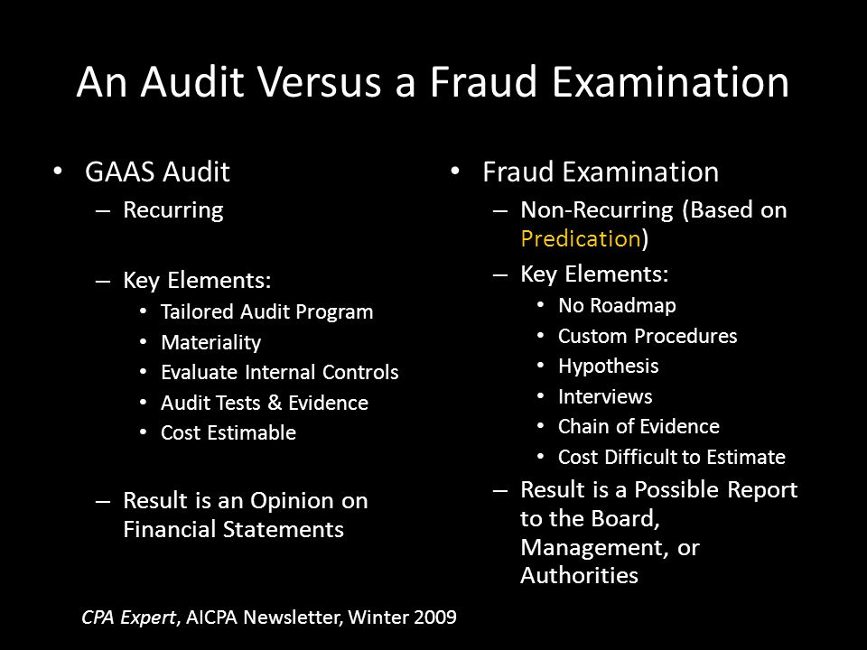 An Audit Versus a Fraud Examination