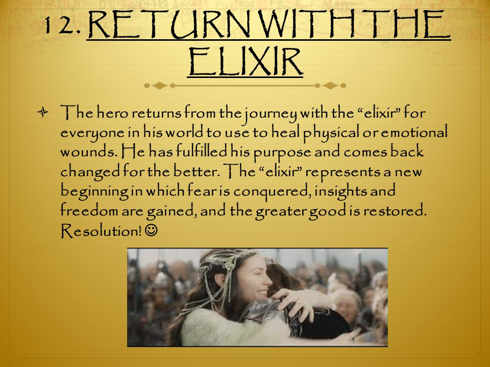 12. RETURN WITH THE ELIXIR