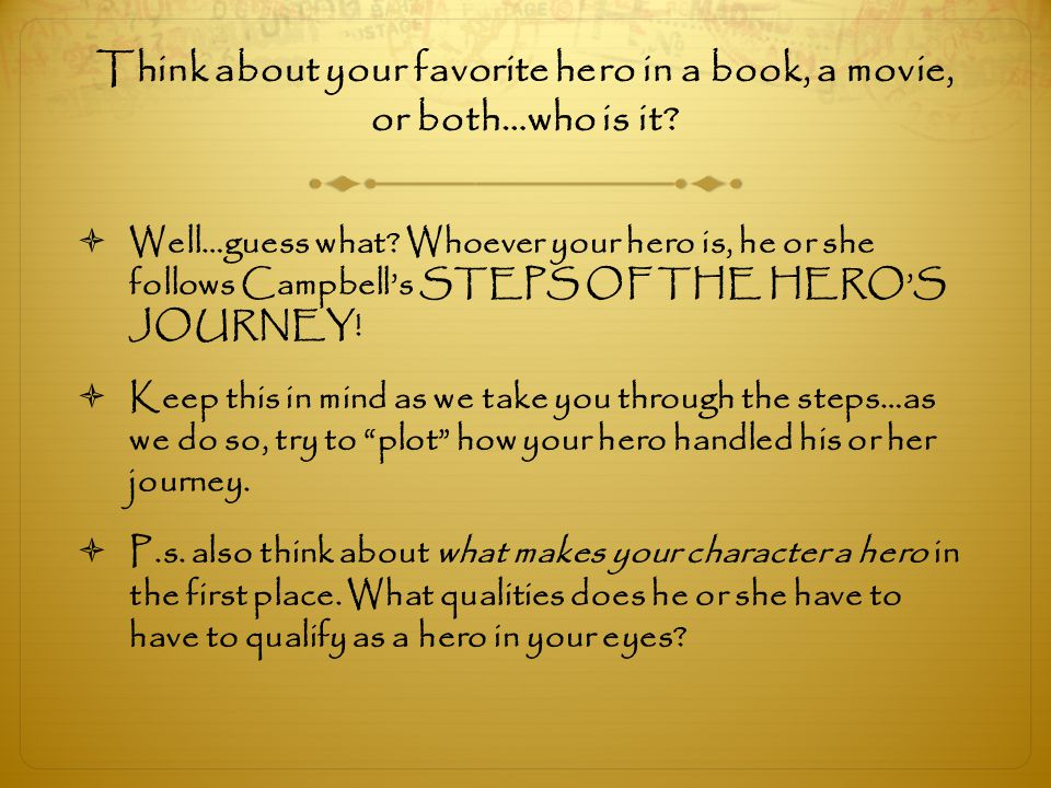 Think about your favorite hero in a book, a movie, or both…who is it
