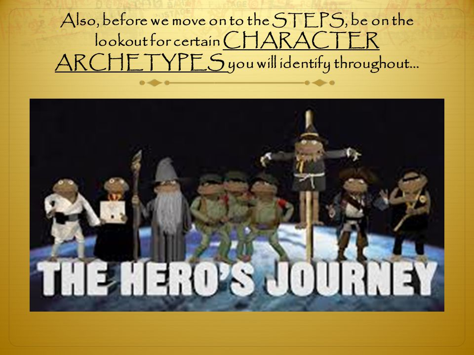 Also, before we move on to the STEPS, be on the lookout for certain CHARACTER ARCHETYPES you will identify throughout…