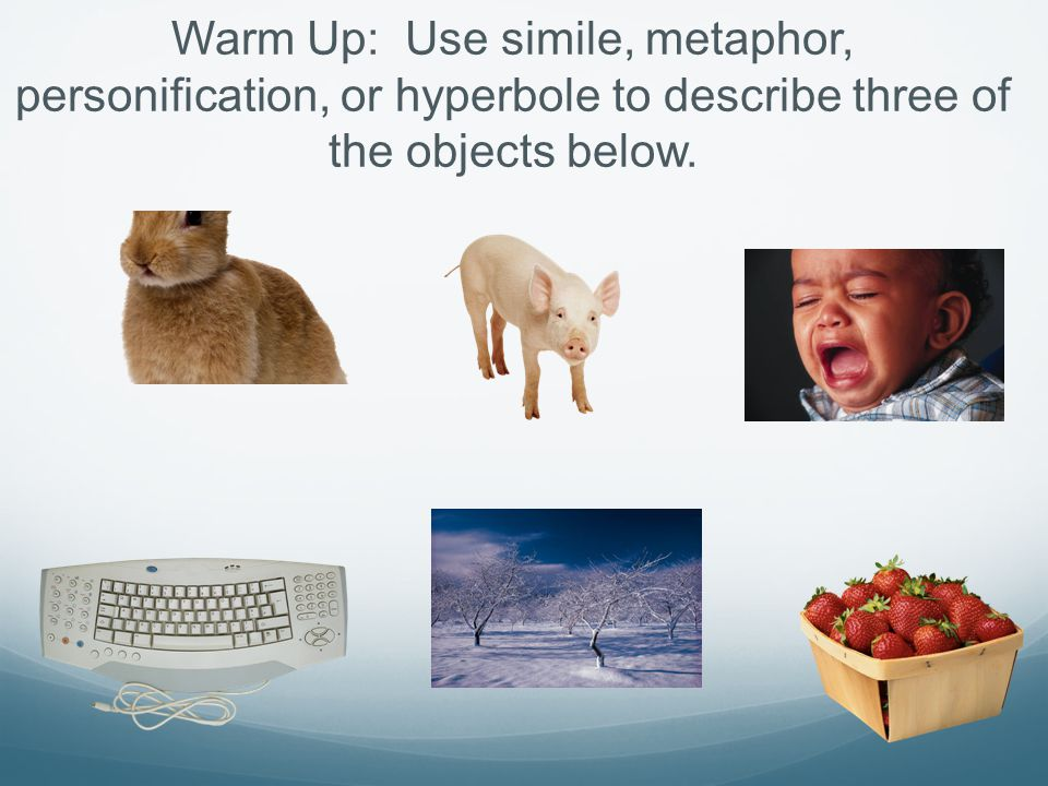Warm Up: Use simile, metaphor, personification, or hyperbole to describe three of the objects below.