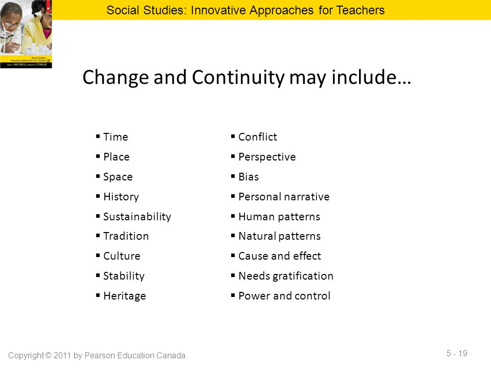 Change and Continuity may include…