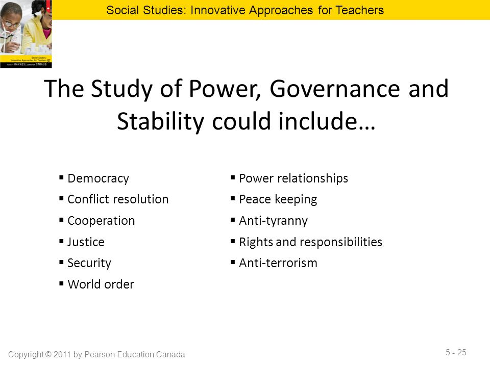 The Study of Power, Governance and Stability could include…