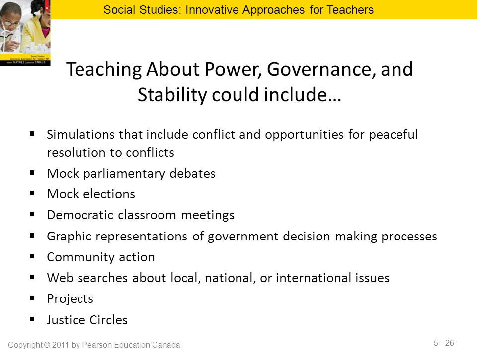 Teaching About Power, Governance, and Stability could include…