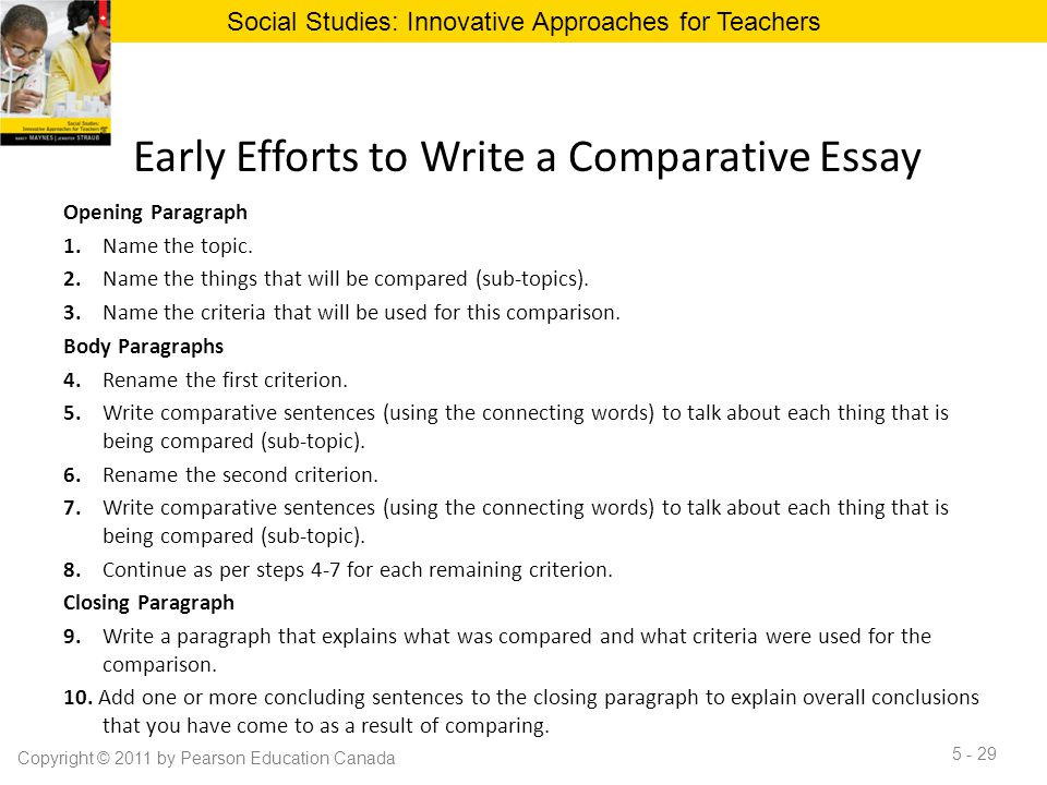 Early Efforts to Write a Comparative Essay