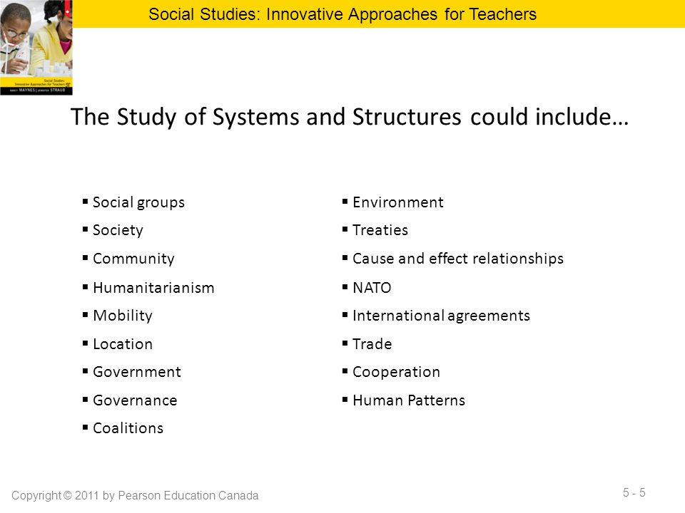 The Study of Systems and Structures could include…