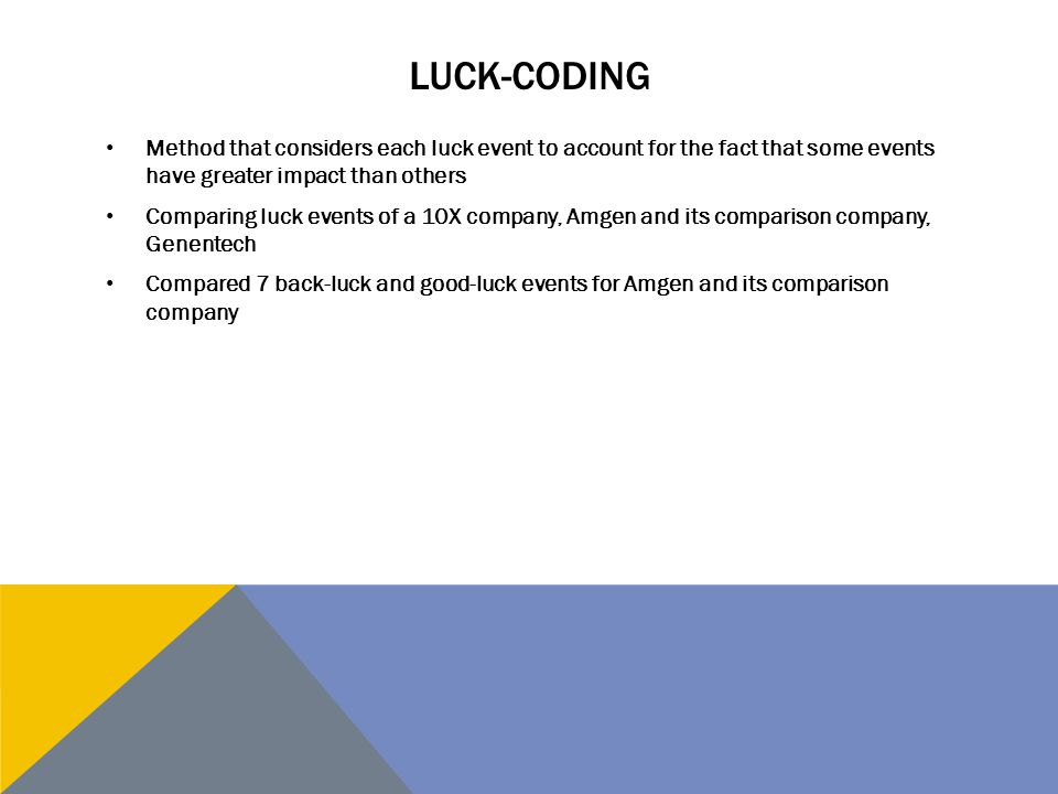 Luck-Coding Method that considers each luck event to account for the fact that some events have greater impact than others.