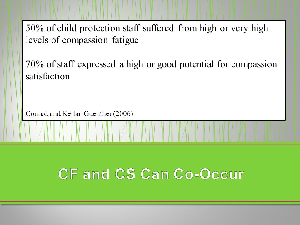 50% of child protection staff suffered from high or very high levels of compassion fatigue