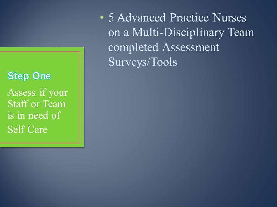 5 Advanced Practice Nurses on a Multi-Disciplinary Team completed Assessment Surveys/Tools