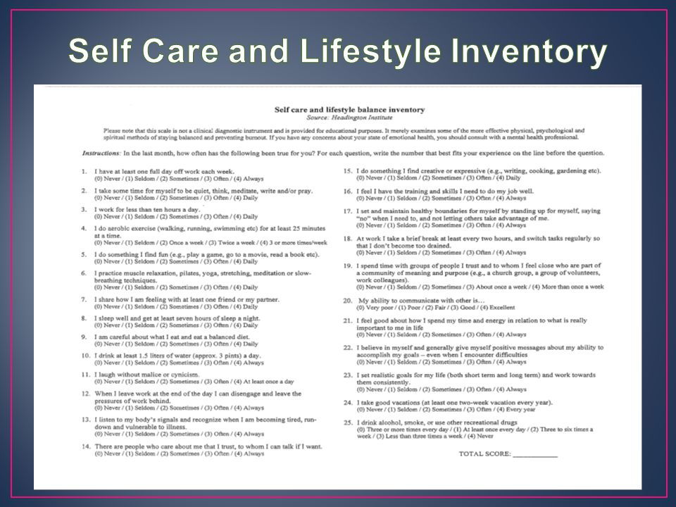 Self Care and Lifestyle Inventory