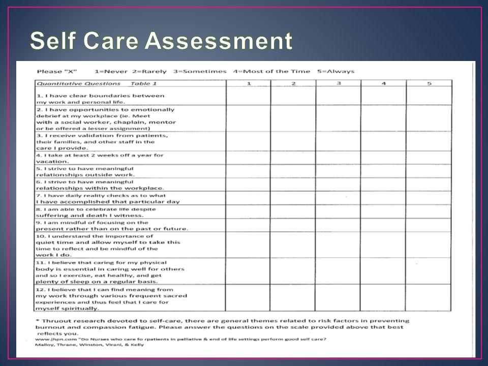 Self Care Assessment