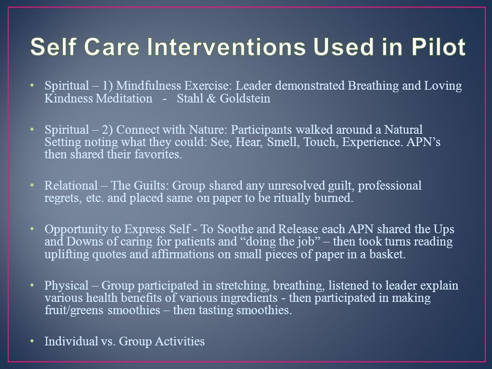 Self Care Interventions Used in Pilot