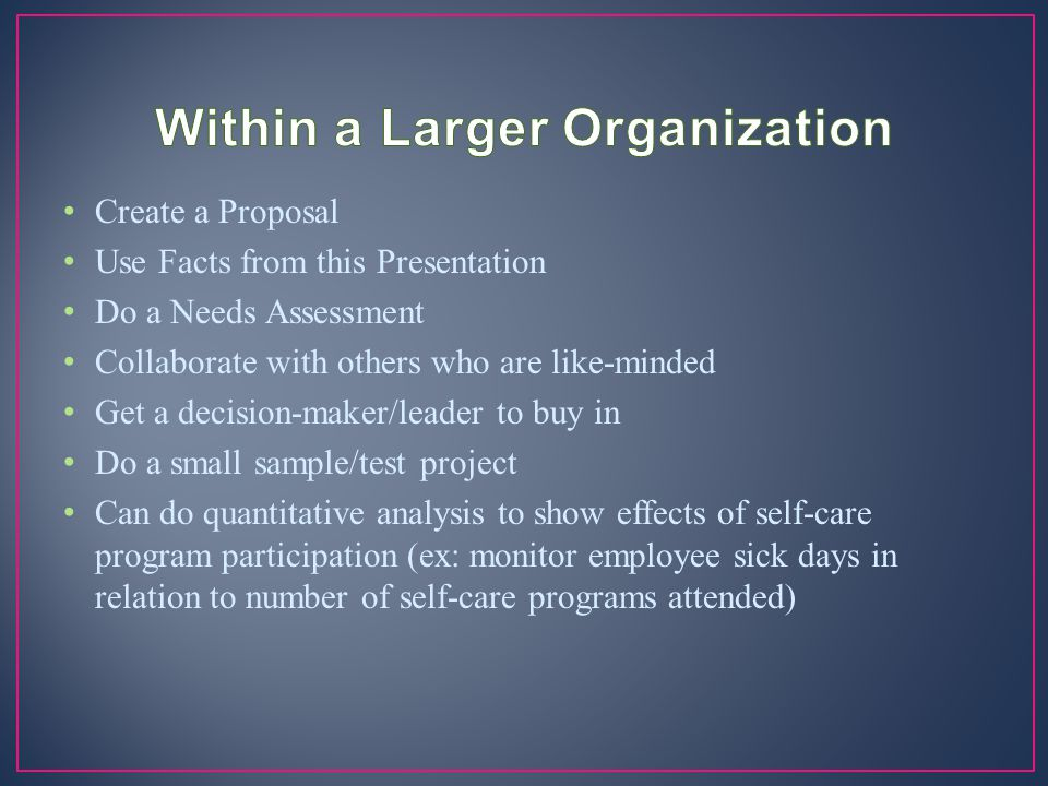 Within a Larger Organization