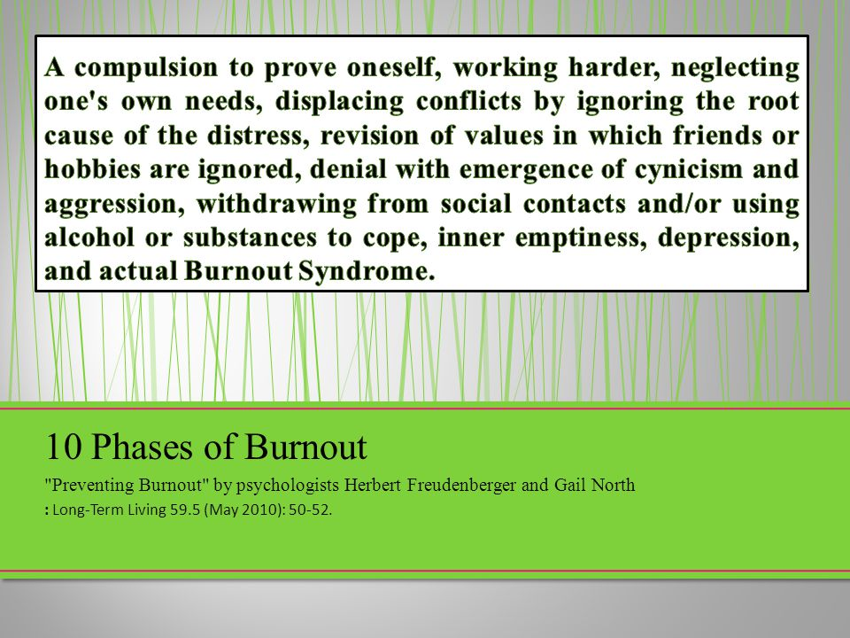 A compulsion to prove oneself, working harder, neglecting one s own needs, displacing conflicts by ignoring the root cause of the distress, revision of values in which friends or hobbies are ignored, denial with emergence of cynicism and aggression, withdrawing from social contacts and/or using alcohol or substances to cope, inner emptiness, depression, and actual Burnout Syndrome.