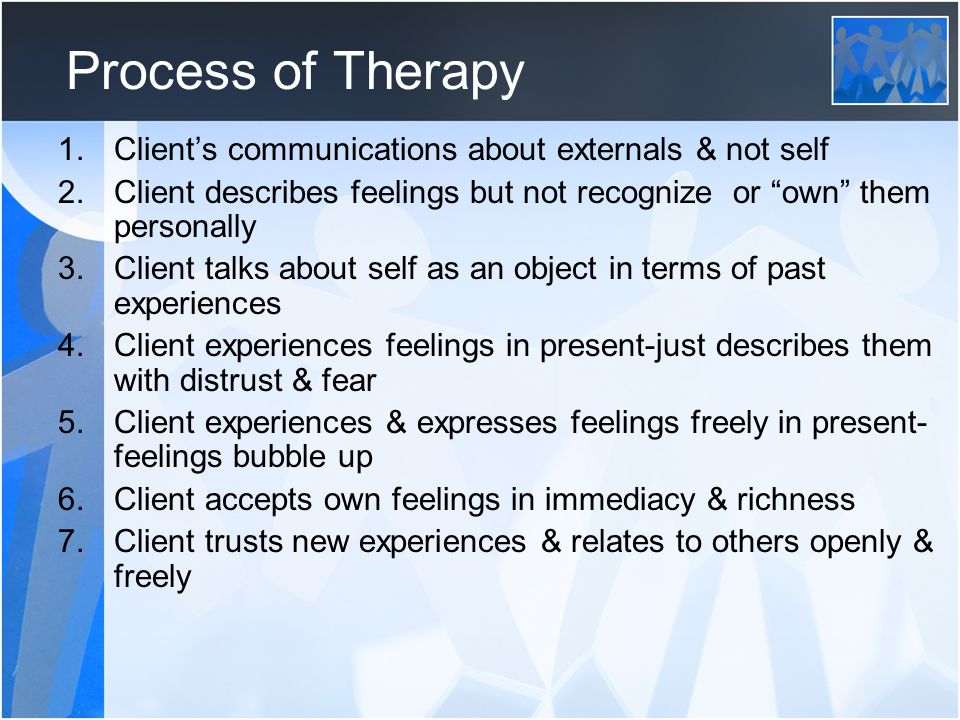 Process of Therapy Client's communications about externals & not self