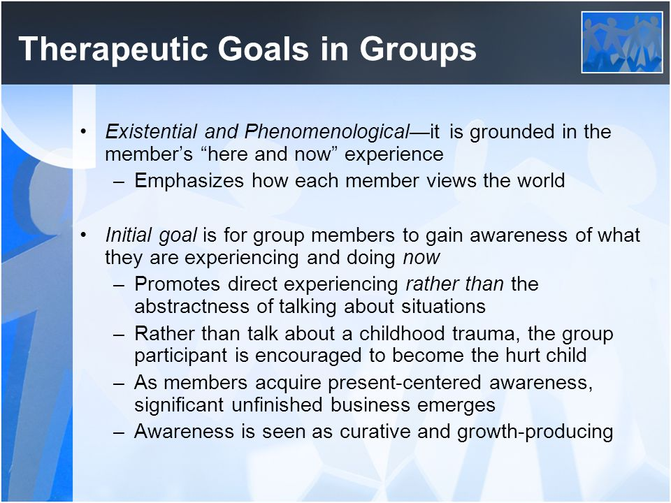 Therapeutic Goals in Groups