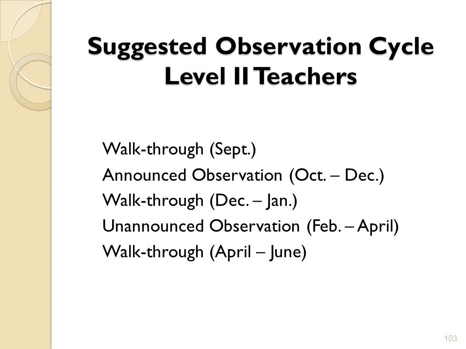 Suggested Observation Cycle Level II Teachers