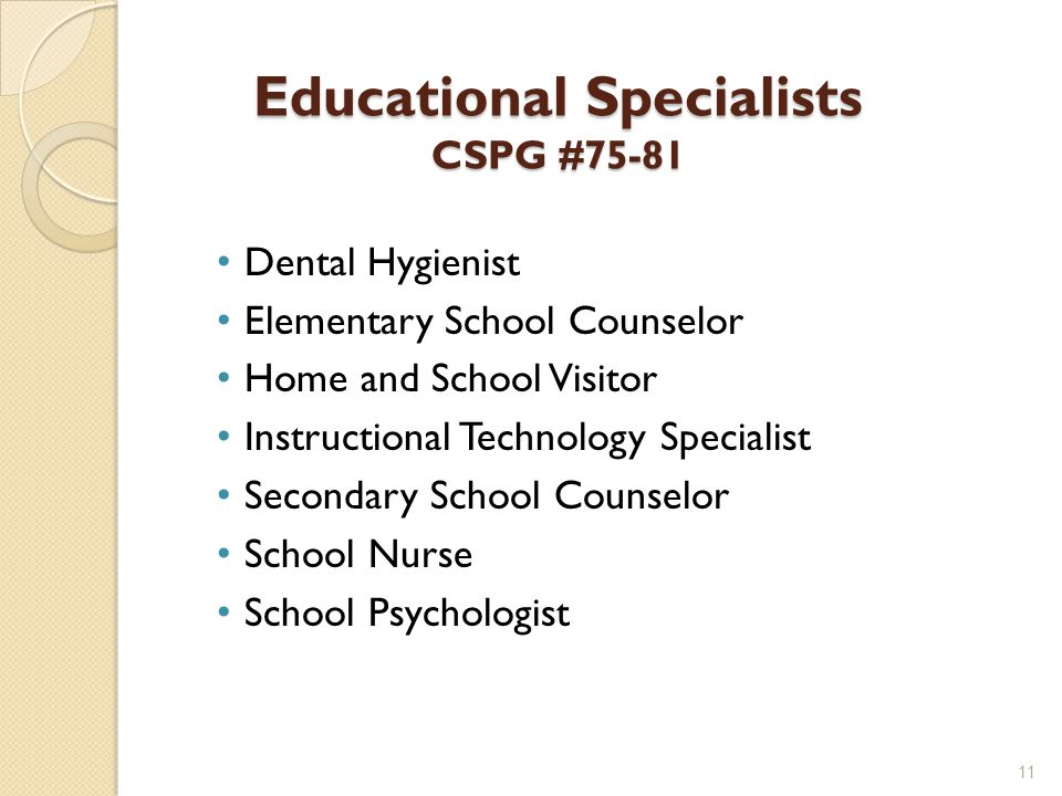 Educational Specialists CSPG #75-81