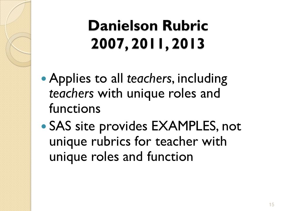 Danielson Rubric 2007, 2011, 2013 Applies to all teachers, including teachers with unique roles and functions.