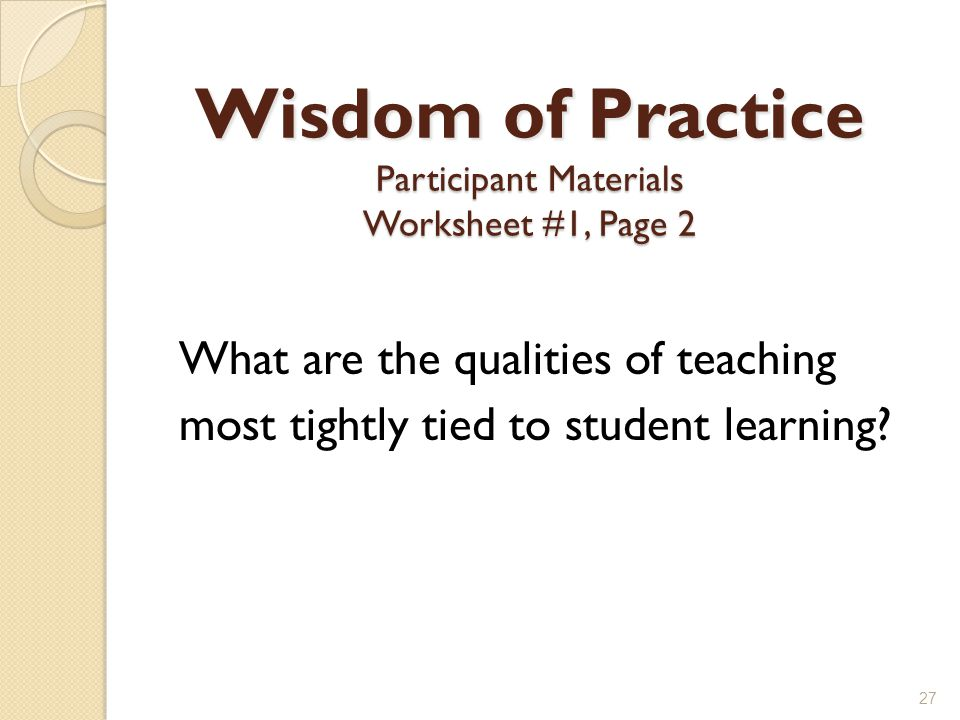 Wisdom of Practice Participant Materials Worksheet #1, Page 2