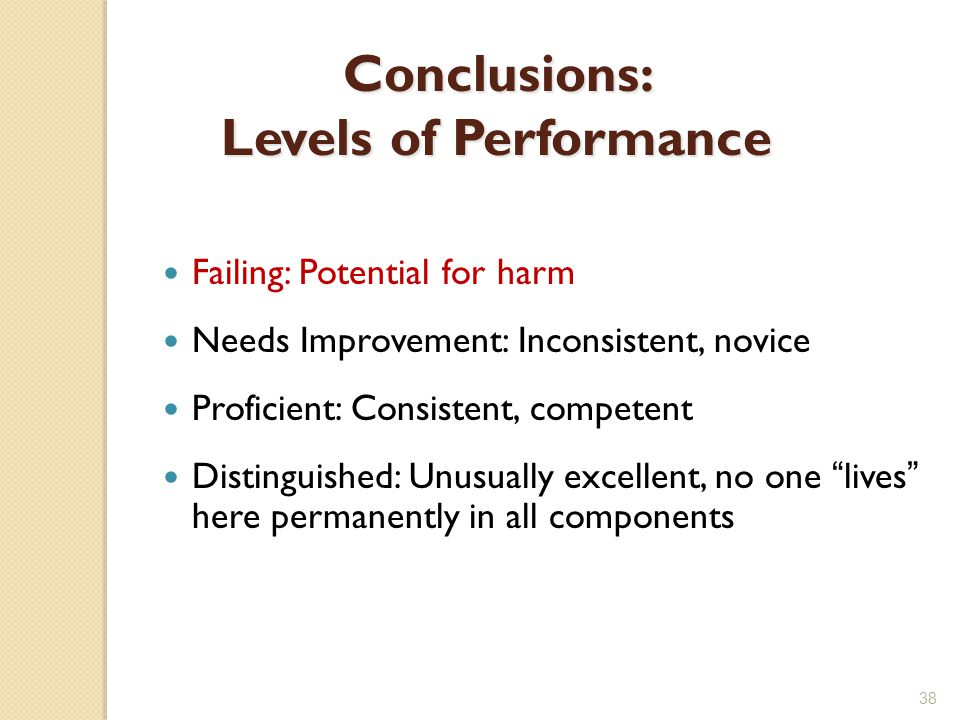 Conclusions: Levels of Performance